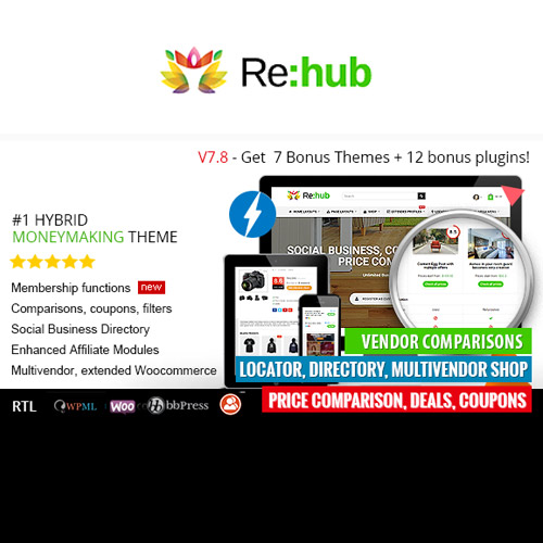REHub – Price Comparison, Affiliate Marketing, Multi Vendor Store, Community Theme