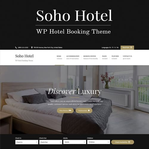 Soho Hotel Booking – Hotel WordPress Theme