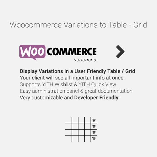 WooCommerce Variations to Table – Grid